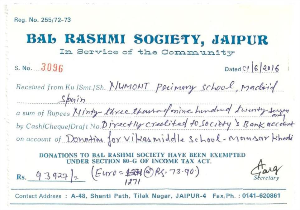 Bal Rashmi Society and Numont School of Madrid